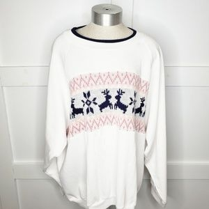 Vtg Grandma Reindeer Cross stitch Sweatshirt XL